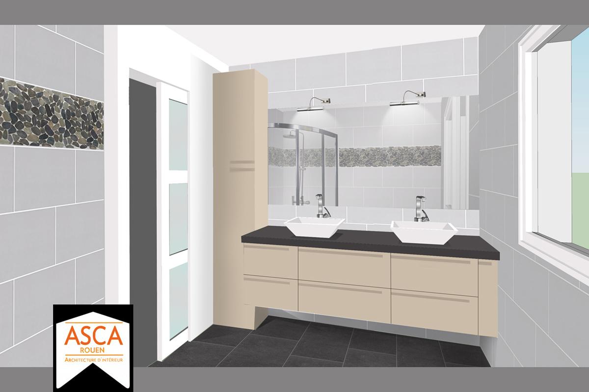 Decoration cuisine gris et jaune for Galets de salle de bain