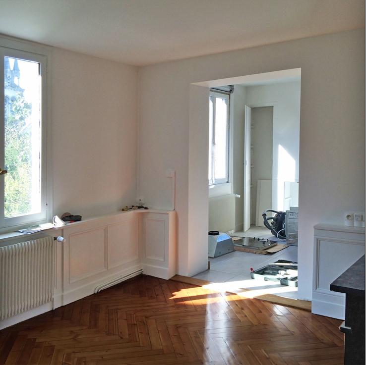 Division d 39 une maison en deux appartements for Ouverture cuisine salon
